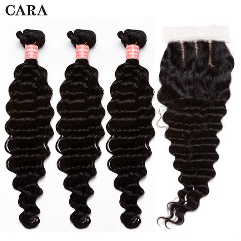 Deep Wave Bundles With Closure Brazilian Hair Weave Bundles Remy Hair 3 Bundles With 4x4 Lace Closure CARA