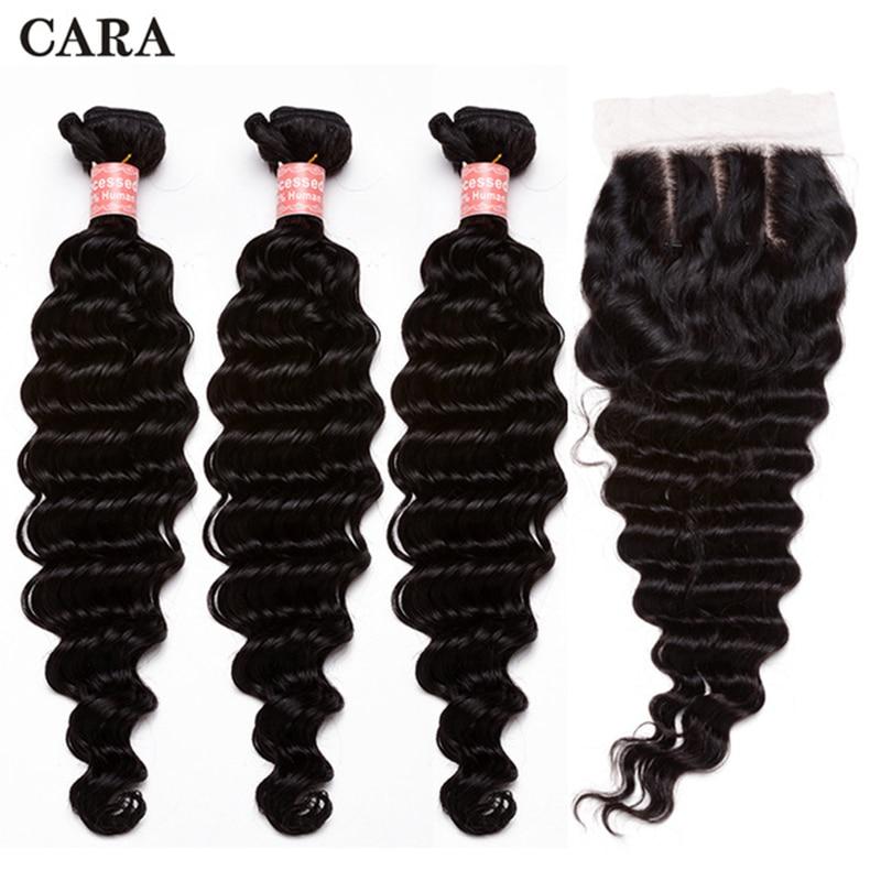 Deep Wave Bundles With Closure Brazilian Hair Weave Bundles Remy Hair 3 Bundles With 4x4 Lace Closure CARA