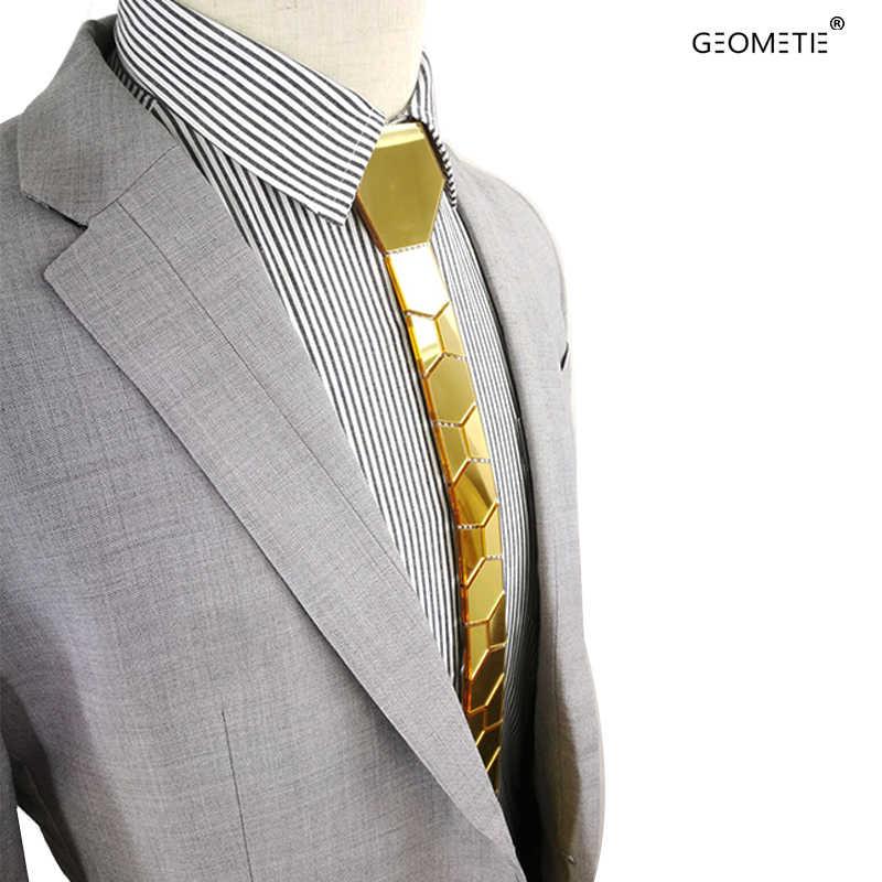 Geometie marca feito à mão ouro magro homem gravata com caixa de presente de luxo, comprar um laço obter um par de abotoaduras livre