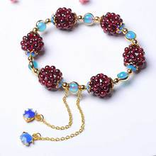 KYSZDL Natural wine red garnet round Ball bracelet fashion Women crystal jewelry gifts