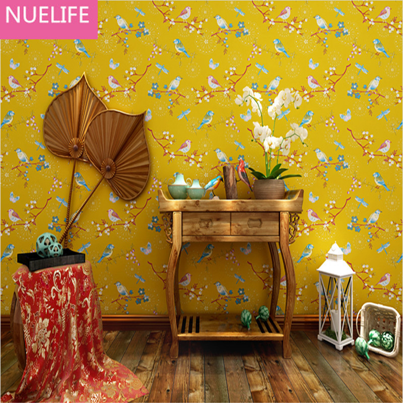 0.53x10 meters American pastoral style non-woven wallpaper  Bird Butterfly Wedding Room Background Restaurant Walkway Wallpaper non woven bubble butterfly wallpaper design modern pastoral flock 3d circle wall paper for living room background walls 10m roll