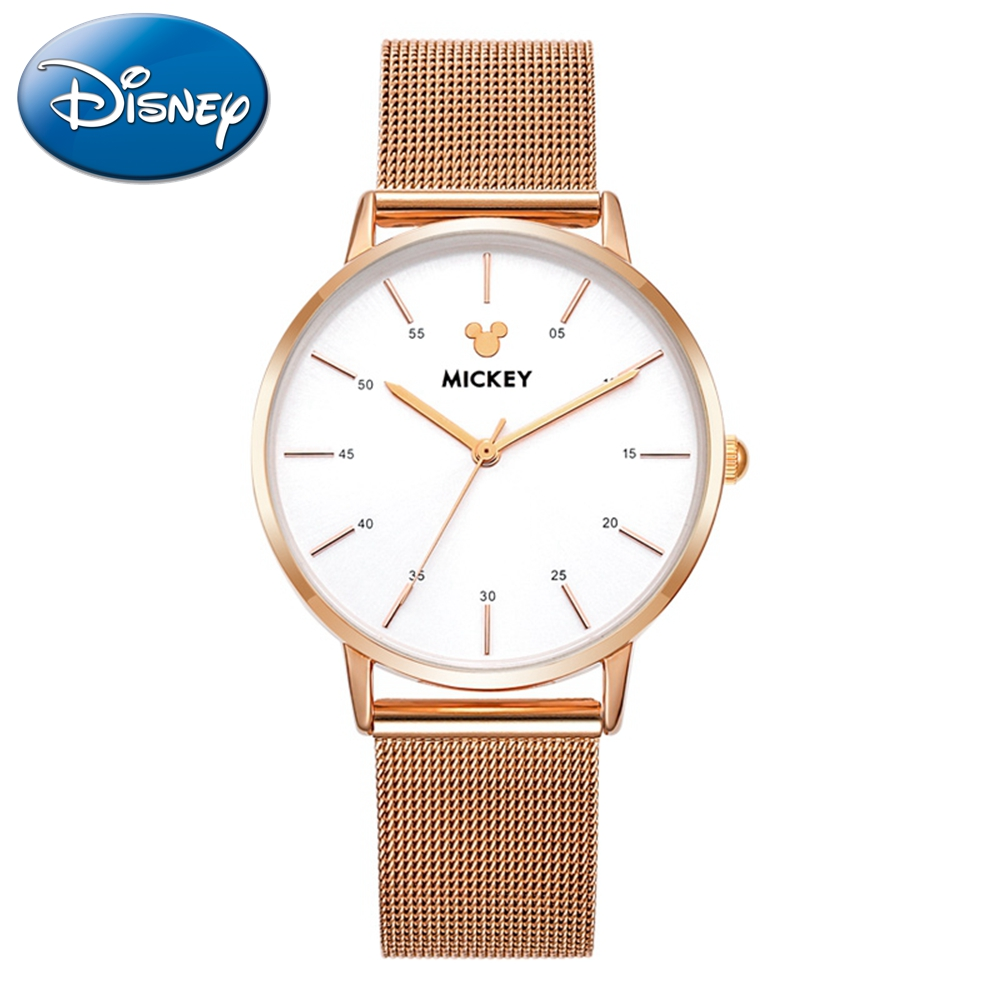 Original Disney Rose Gold Stainless Steel White Black Fashion Simple Women Quartz Watch Ladies Mickey Mouse High Quality Time ysdx 398 fashion stainless steel self stirring mug black silver 2 x aaa