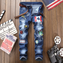 2019 Brand ripped jeans men blue distressed gothic style hole straight printed slim plus size 29-38 homme denim trousers jeans european and american style slim straight jeans new brand colorful cloth stitching hole water wash denim trousers size 29 38