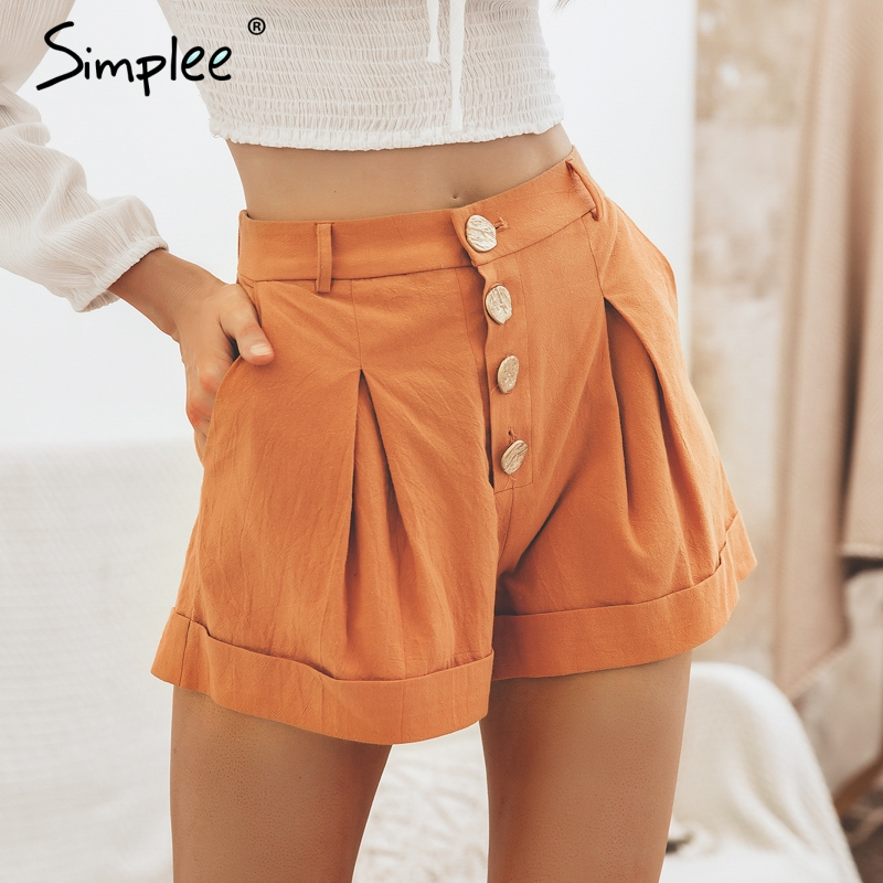 Simplee Casual buttons summer women soft   shorts   High waist cotton female hot   shorts   Sexy solid black ladies korean   shorts   2019