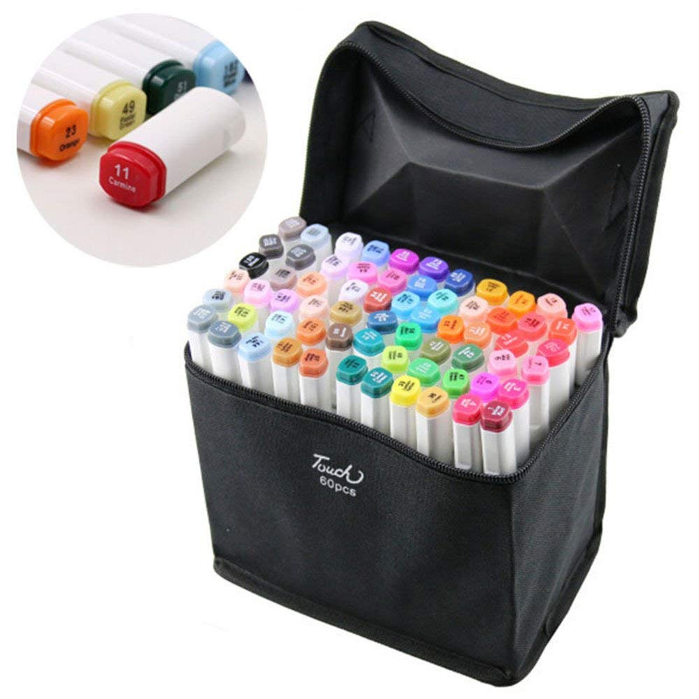 MYLIFEUNIT 60 pcs/sets Double-Ended Art Sketch Markers Pens Fine and Chisel Tip plumones colores set versatility art suppliesMYLIFEUNIT 60 pcs/sets Double-Ended Art Sketch Markers Pens Fine and Chisel Tip plumones colores set versatility art supplies