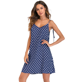 XXXL 4XL 5XL Plus Size Dress Female Polka Dot Print V Neck Sleeveless Dress Tie Spaghetti Strap Backless Mini Casual Sundress Платье