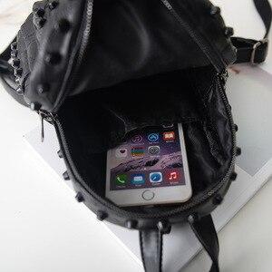 Image 4 - Mochila feminina pequena couro legítimo, bolsa escolar casual viagem preta