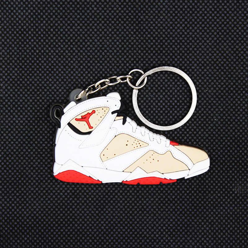 Mini bolsa de zapatos de baloncesto de silicona llavero hombres mujeres niños zapatos de moda de acero inoxidable llavero para hombres