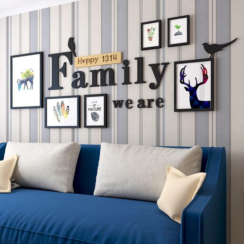⓪Decoración casera nórdica familia madera Marcos pared decoración ...