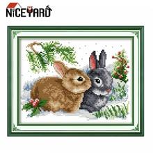 NICEYARD ручная работа с кроликом DIY наборы для вышивания животных вышивка крестиком 11CT печать ткань наборы для рукоделия