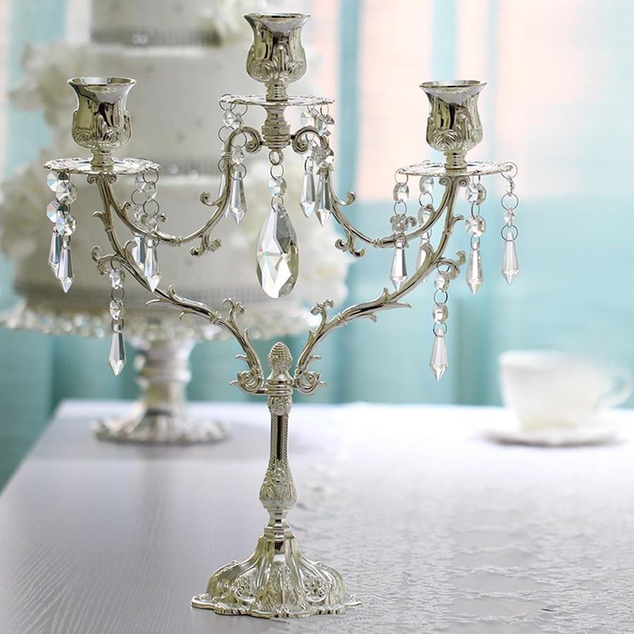 Европейский стиль, романтические свечи обеденные декор стола центральный, канделябры, 2017 Новый цинковый сплав 5 рук подсвечники - 2