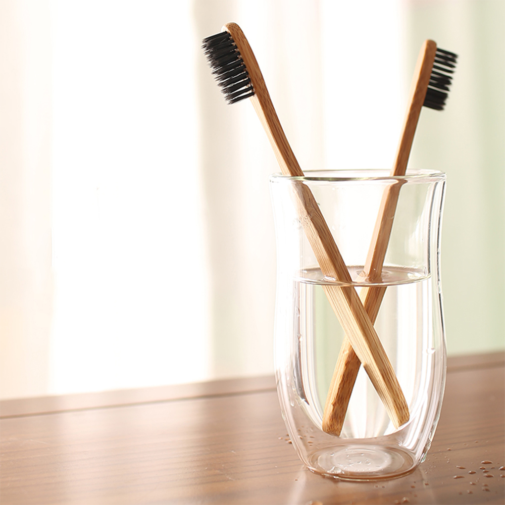 AZDENT 2pcs Eco friendly Wooden Toothbrush Novelty Bamboo Charcoal Toothbrush Tongue Scraper Cleaning Double Ultra Soft Bristle image