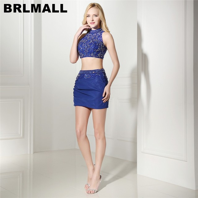 ac945dad883 BRLMALL High Neck royal Blue Two Pieces Homecoming Dresses Beaded Crystal  Sexy Graduation dress Sleeveless Short Prom Dr