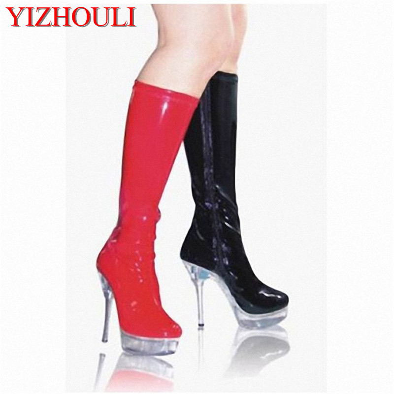 15 cm high heel waterproof high boots in the high-grade diamond Big yards of shoes fashion crystal long boots 2017 han edition of the new fashion women s shoes big yards high heels crystal cool slippers 15cm