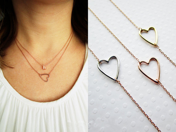 N022 Gold Silver Tiny Line Hollow Out Open Heart Necklaces Simple Wire Wrapped Love Heart Necklaces for Lovers Couples