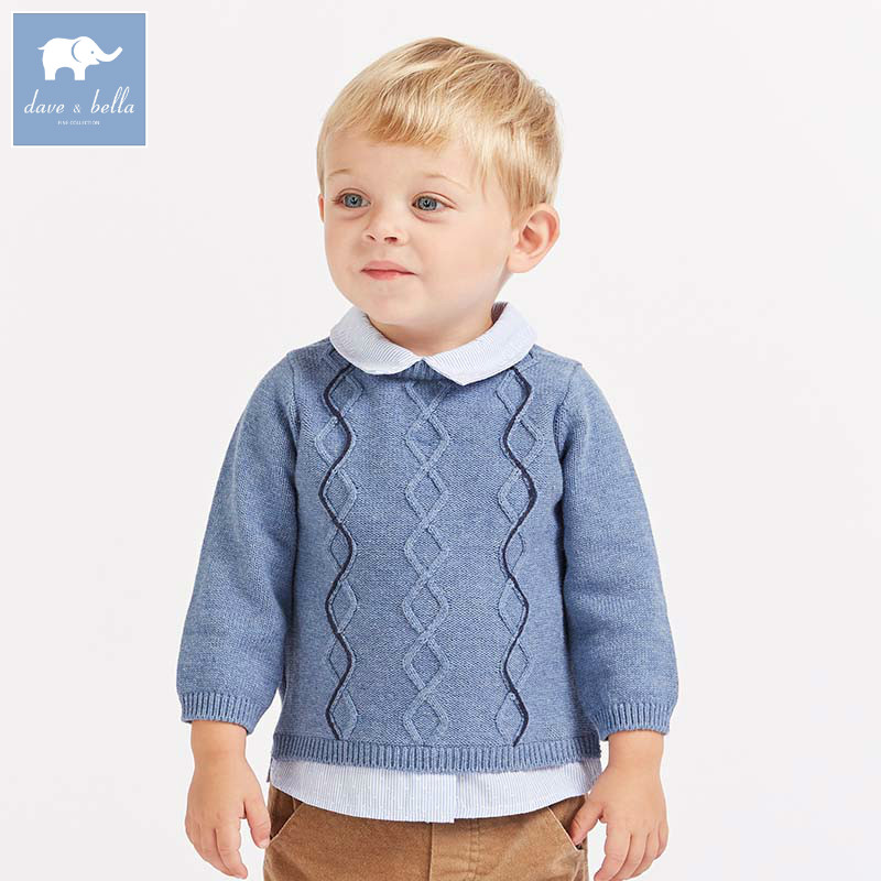 все цены на DB8546 dave bella autumn knitted sweater infant baby boys long sleeve pullover kids toddler tops children knitted sweater