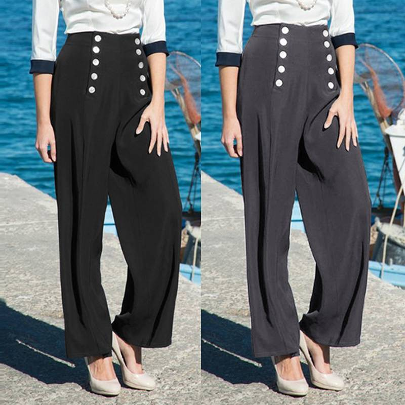 Celmia Women Long   Pants   2019 Fashion Casual Button Loose Trousers High Waist Elegant Work   Wide     Leg     Pant   Plus Size Pantalon Femme