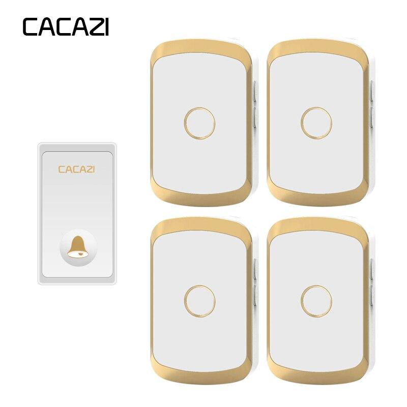 цена на CACAZI Self-powered Waterproof Wireless Doorbell No battery LED Light 1 Button 4 Receiver EU Plug Home cordless doorbell Chime
