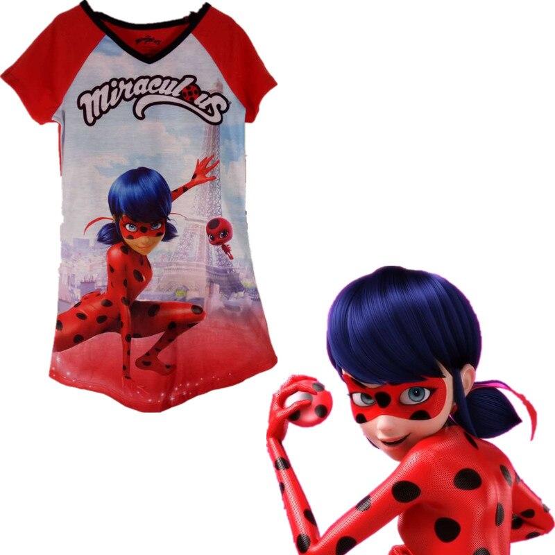 New popular children miraculous ladybug Cosplay costume T-shirt jammed ladybug costume female ladybug costume