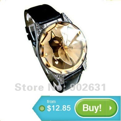 Retail from 1pc Free Shipping Accept Credit Card Best for lady girl Brand New Fashion Design black cat watch