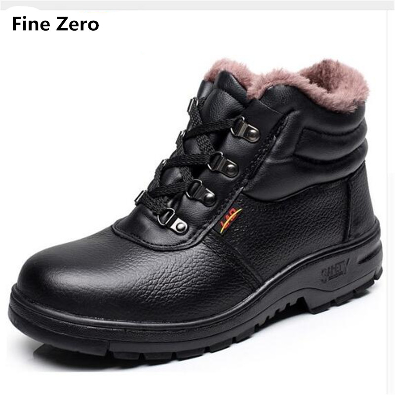 Fine Zero High Quality Men Winter Warm Plush Work Safety Shoes Steel Toe Cap For Anti-Smashing Durable Protective high Top Boots