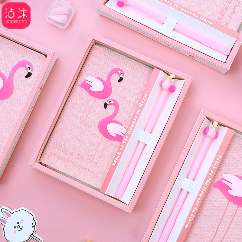 Kawaii Pnk Flamingo Notebook Planner Book for Girls With Pen Gift School Supplies Korean Stationery Cute Bullet Journals lovedoki cute leather cover notebook a5a6 planner personal diary book for girls gift korean kawaii stationery school supplies
