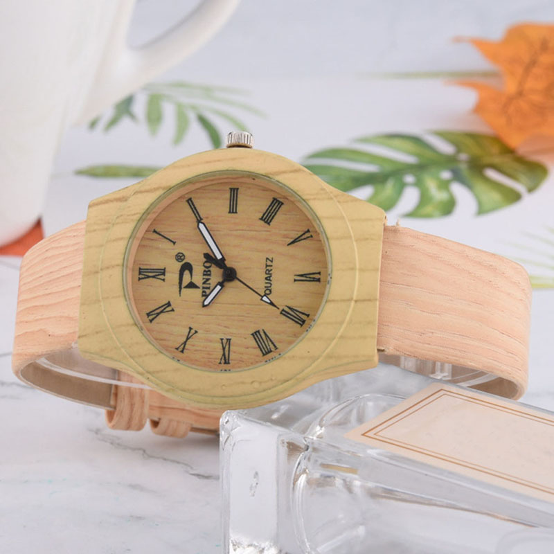 Newly Men Women Quartz Watch PU Leather Wood Pattern Wristwatch Student Sport Casual Watches M99