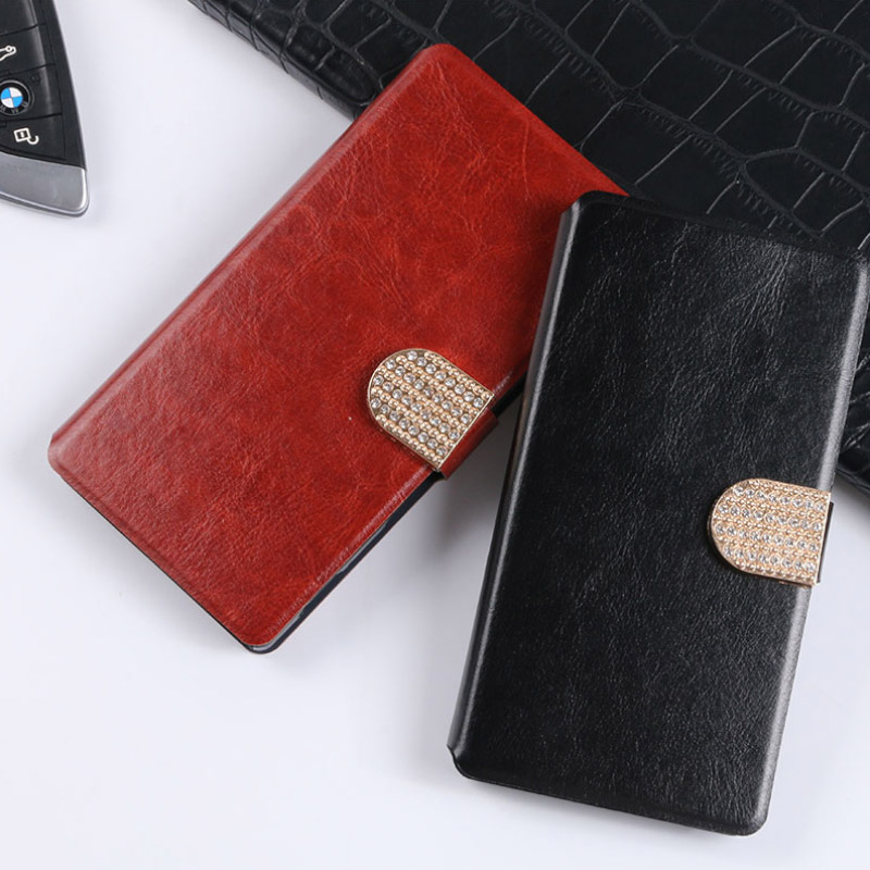 High Quality Shell With Card Slot Holder Flip PU Leather Cover With Diamond For iphone 4 ...