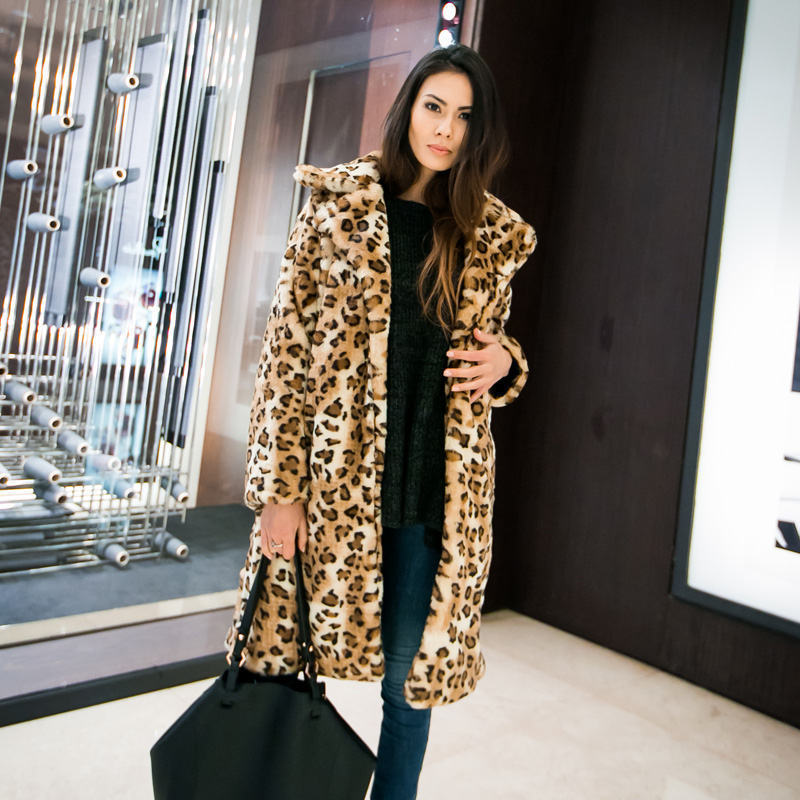 Online Shop Europe Fashion Autumn Winter Women Leopard Long Faux ...