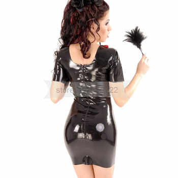 Black and Trims Red Sexy Lolita Female Latex Rubber Dress with Apron and Gloves BNLD228