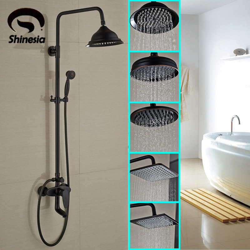 Oil Rubbed Bronze 8 Inch Rainfall Shower Head with Hand Sprayer Solid Brass Single Handle Mixer Tap