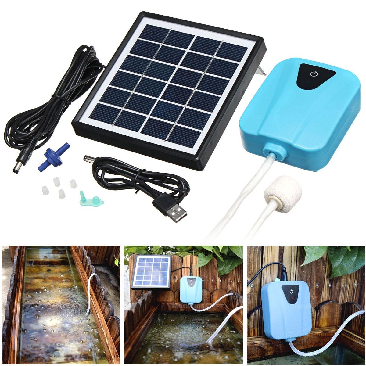 Silent Solar Powered Charging Water Oxygenator Mini Air Pump Oxygen Air Compressor Aerator Garden Aquarium Plant Fish Tank