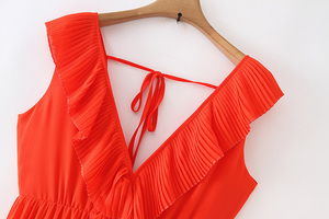 Image 3 - Vadim women orange maxi dress pleated ruffles sleeveless backless female casual sweet dresses chic bow tie A line vestidos QB506