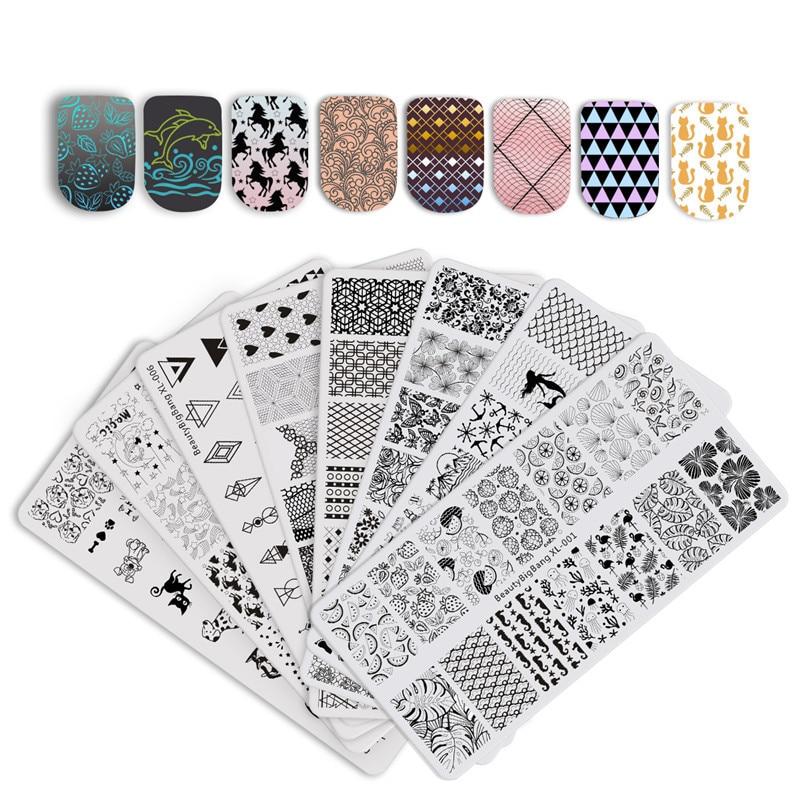 BeautyBigBang Nail Stamping Plates Set 8 PCS New 2018 Summer Flower Nail Design Stempel Nail Art Stamp For Nails Template stylish 24 pcs smile expression pattern nail art false nails page 7