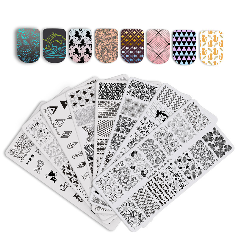BeautyBigBang Nail Stamping Plates Set 8 PCS New 2018 Summer Flower Nail Design Stempel Nail Art Stamp For Nails Template