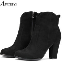 AIWEIYi Brand Women Ankle Boots Square High Heels Side Zip Military Booties Woman Thick Heels Shoes