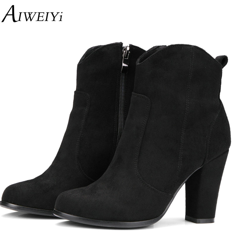 AIWEIYi Brand Women Ankle Boots Square High Heels Side Zip Military Booties Woman Thick Heels Shoes Female Autumn Winter Boots цена