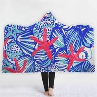Floral Hooded Blanket Mandala Sherpa Fleece Blankets And Trows Wearable Blanket Starfish Throw Blanket Kids Hooded Bathrobe