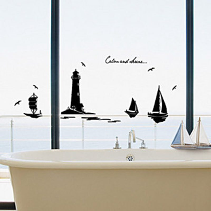 등대 벽 스티커 비닐 스티커 장식 벽화 예술 거실 홈 장식 등대 벽 데칼