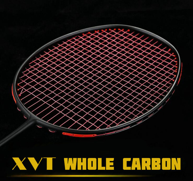 Xvt Professional Black Carbon Whole Badminton Racket Free String Grip 4 Colors