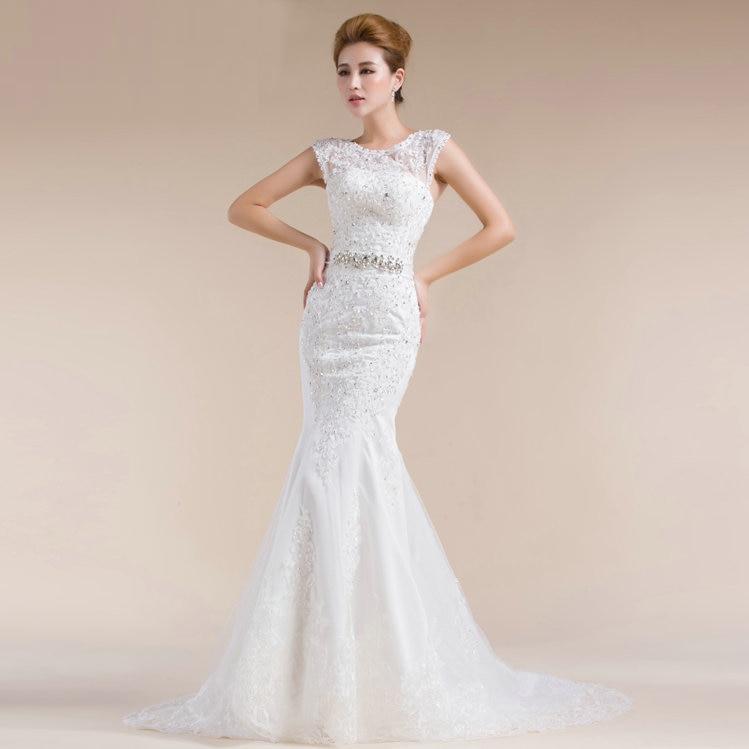 2015 New Elegant Lace Wedding Dress Trailing Shoulder