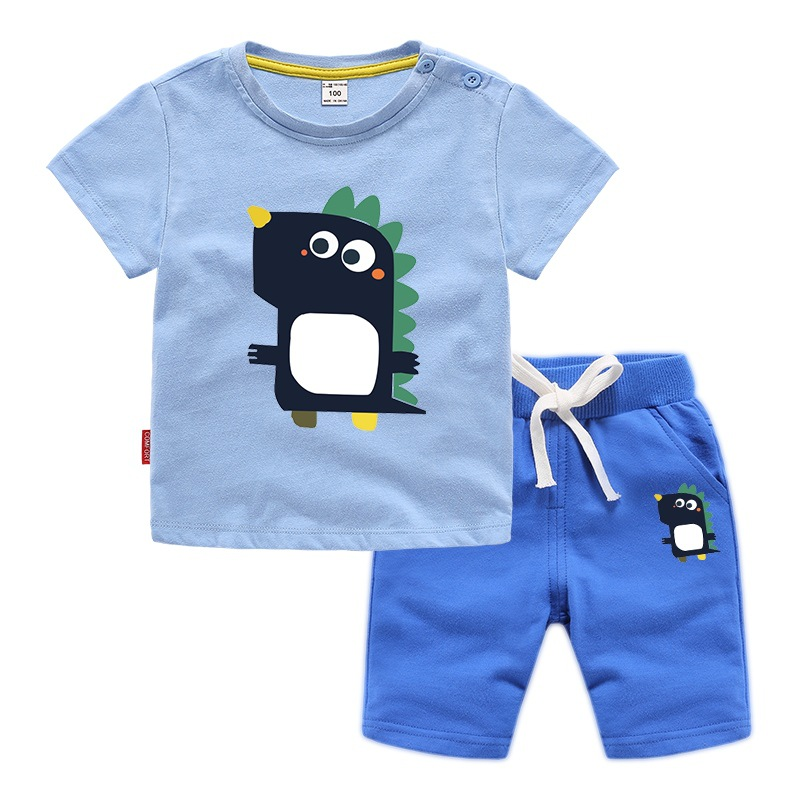Children 39 s clothing boys 39 summer set 2019 new Kids Fashion foreign gas sports set male big boy short sleeve two piece set in Clothing Sets from Mother amp Kids
