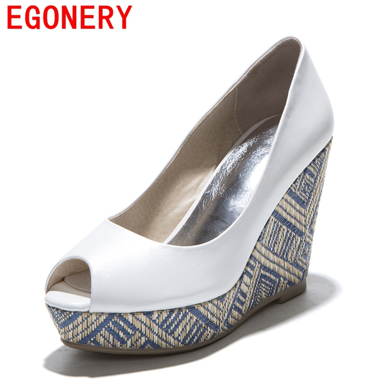 EGONERY shoes 2016 new spring summer fish peep toe women brand high heels platform pumps straw wedges sandals shoes woman pumps  new listing hot sales summer fashion brand sexy women fish mouth high heels sandals women shoes pumps height 9cm 3603