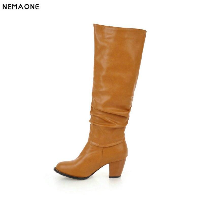 NEMAONE thick high heels knee high Boots woman autumn Winter Ladies party dress shoes fashion Woman boots large size 43 недорго, оригинальная цена