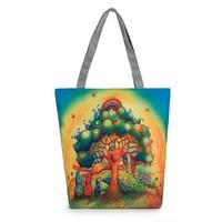 FGGS-Cartoon Tree Printed Women Casual Tote Female Daily Use Canvas Handbag Lady Single Shoulder Shopping Bag Character Beach
