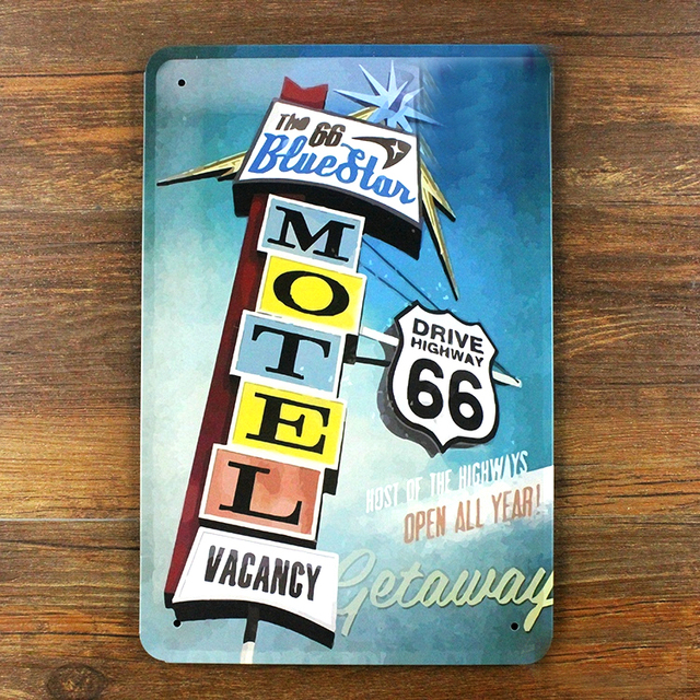 Top USA Route 66 Car Motel Vintage Metal painting tin sign retro wall  ZY66