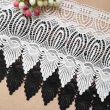 30cm Wide DIY Wedding Skirt Hem Tulle Lace European Luxury Water Soluble Embroidery Ribbon Accessories Girl Clothing Decoration