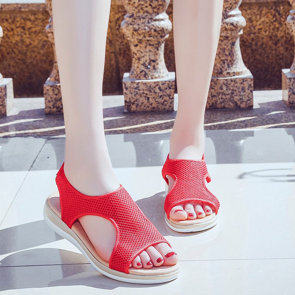 CAGACE 2018 Fashion Women Sandals Slippers Summer Breathable Flat Heel Anti Skidding Open Toe Beach Shoes Rome Sandals Footwear women s shoes 2017 summer new fashion footwear women s air network flat shoes breathable comfortable casual shoes jdt103