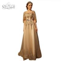 Vestido De Fiesta O Neck Luxurious Gold Lace Heavy Beads Evening Dress Arabian Indian Saree Evening