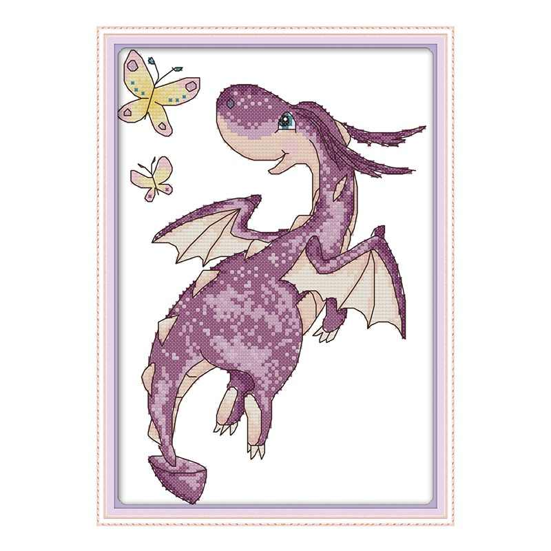 Joy sunday The purple Little Dragon Counted 11CT 14CT DIY Handwork Cross Stitch Kits For Embroidery Home Decor factory wholesale